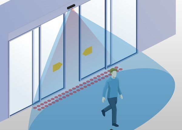 Illustration of an automatic door sensor detection area