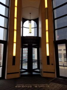 Photo of a security revolving door