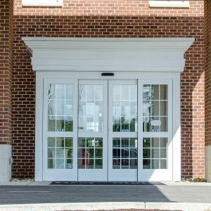 Photo of a custom painted automatic entrance door system