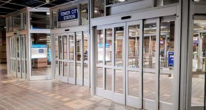 Photo of several new sliding entrance doors at Tower City Station