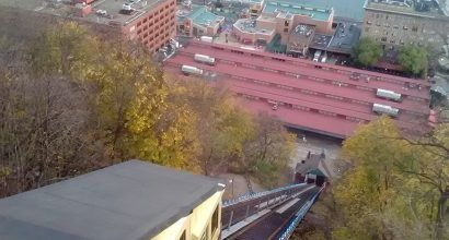 Photo looking over the Mon Incline at the Pittsburgh skyline