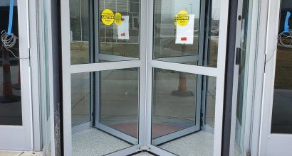 Photo of a new security revolving door entrance