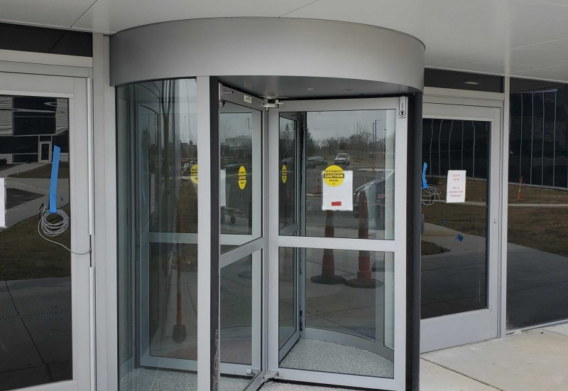 Photo of a new automatic revolving door