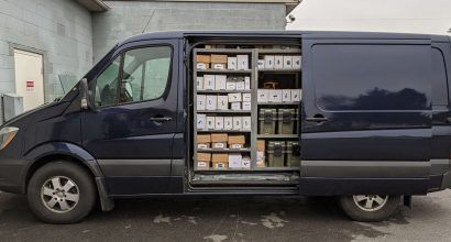 Photo of a well stocked service van with lots of inventory